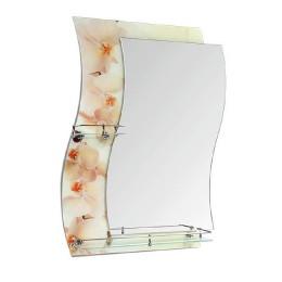 "Зеркало с полкой F-421-2 ""Бежевые орхидеи"" (62х80)"