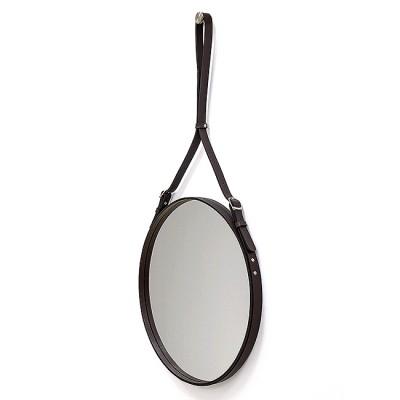 Зеркало круглое в кожаной раме К-03-1 (D 51)