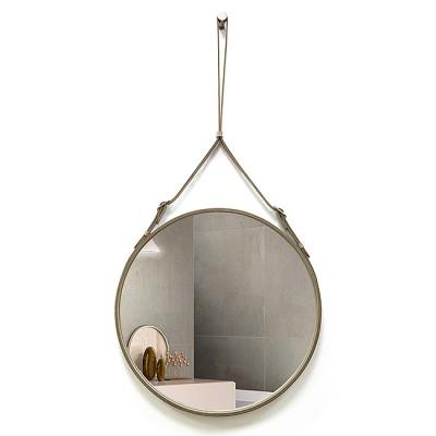 Зеркало круглое в кожаной раме К-03-2 (D 51), (D 41), (D71)